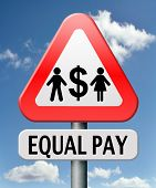 stock photo of equality  - equal pay equal rights for man and woman on work marked fair payment opportunities with same salary - JPG