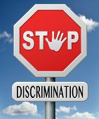 stop discrimination equal rights equality no racism based on age race or ethnicity gender