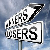 winner loser winning or loosing team winners and losers in every game and sport competition