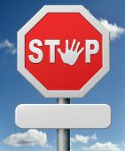 picture of quit  - stop road sign stopping hand signal red warning roadsign saying halt quit or quitting - JPG