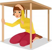 Illustration of a Woman Hiding Under a Table