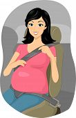 Illustration of a Pregnant Girl Putting Her Seatbelt on