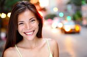 Asian woman portrait in New York City. Beautiful young mixed race Asian Chinese / Caucasian woman in