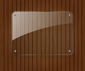 picture of bolts  - Glass banner on wooden background - JPG