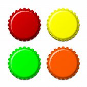 Set Of Bottle Caps In Colors Isolated On White Background