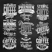 Set Of Vintage Retro Coffee Labels On Chalkboard . Coffee decoration collection | Set of calligraphi