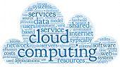 Cloud computing Konzept in Wort-Tag-Cloud auf weißen Wolken in Form