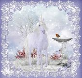 Winter Fantasy Unicorn Scenery With Robin Greeting Card