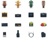 Vector gitaar apparatuur icon set