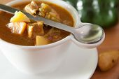 foto of poblano  - Bowl of Green Chile and meat stew - JPG