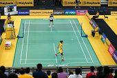 KUALA LUMPUR - JANUARY 15: China's Yao Xue (yellow) takes on Vietnam's Vu Thi Trang in a match at th