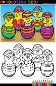 Cartoon Küken Ostern Eier Färbung Seite