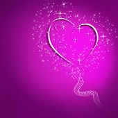 Abstract Pink Background With Glowing Hearts And Stars And Space For Text
