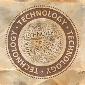 TECHNOLOGY. Word collage. Vector stamp.