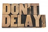 do not delay exclamation - procrastination concept  - isolated text in vintage letterpress wood type
