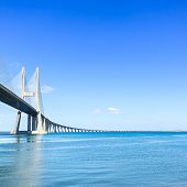 Vasco Da Gama Bridge On Tagus River. Lisbon, Portugal, Europe.