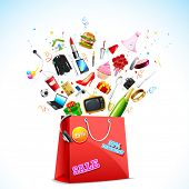 illustration of product coming out of carry bag showing sale festival