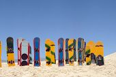 Sandboards on Joaquina Beach in Florianopolis, Santa Catarina, Brazil.