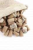 Photo of Wine corks in a sisal bag