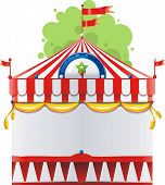 Frame with circus tent with space for text. Decoration vector illustration.