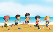 Illustration of running children near the sea