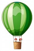 Illustration of an air balloon flying with two kids on a white background