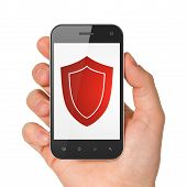 Protection concept: smartphone with Shield.