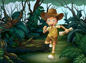 image of boy scout  - Illustration of a young boy running in the middle of the woods - JPG