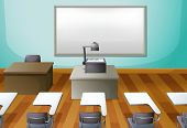 Illustration of an empty classroom with a projector