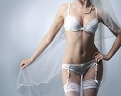stock photo of silk lingerie  - Body of young - JPG