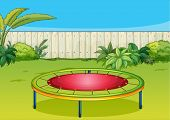 Illustration of a trampoline playing equipment in a beautiful nature