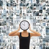 Young woman with the watches over the abstract business collage
