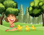 Illustration of a happy girl and the three ducklings in the park