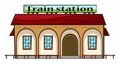 Illustration of a train station on a white  background