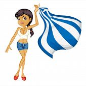 Illustration of a smiling girl with a national flag of Greece on a white background