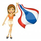 Illustration of a smiling girl with a national flag of thailand on a white background