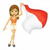 Illustration of a smiling girl with a national flag of Indonesia on a white background