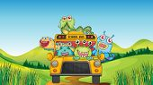 illustration of smiling monsters and school bus