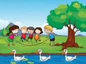 Illustration of playing kids and ducks in water