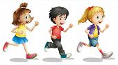 Illustration of kids running on a white background