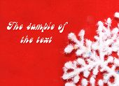 Background Of Red Color With A White Fluffy Snowflake. poster
