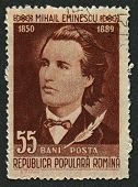 ROMANIA - CIRCA 1958: Postage stamps dedicated to Mihai Eminescu (1885 - 1889), Romanian poet, novel