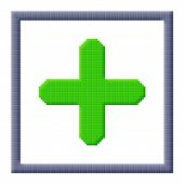 Cubes Pixel Image Of Green Plus Sign In Gray Frame