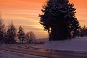 pic of icy road  - Winter Icy Road - JPG