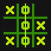 8-bit Pixel Art Tic Tac Toe Game - Winning Position