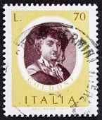 ITALY - CIRCA 1977: a stamp printed in Italy shows image of Carlo Goldoni (1707 - 1793), famous Ital