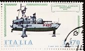 ITALY - CIRCA 1977: a stamp printed in Italy shows image of  Hydrofoil gunboat Sparviero (Italian Navy). Italy, circa 1977