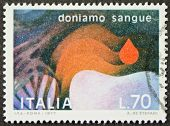 ITALY - CIRCA 1977: a stamp printed in Italy promotes blood donation. Italy, circa 1977