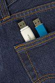 usb memory sticks in a pocket