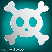 foto of freaky  - Concave skull Halloween card in vector format - JPG